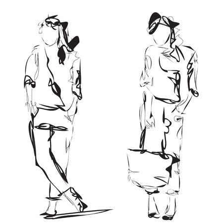 supermodel: Fashion models. Sketch. Cartoon woman. Fashion girl.