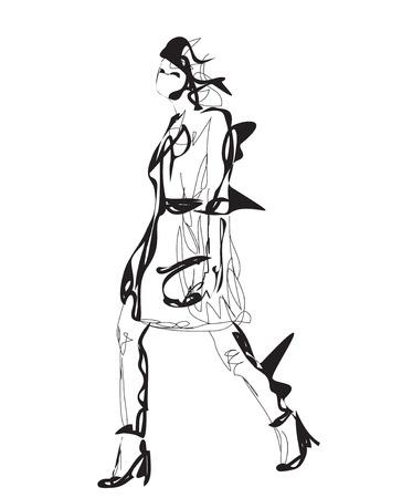 models: Fashion models. Sketch. Cartoon woman. Fashion girl.