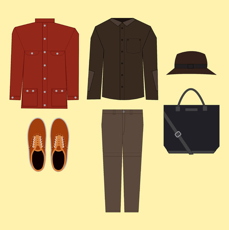 leather coat: Vector illustration of every day man clothes. Illustration