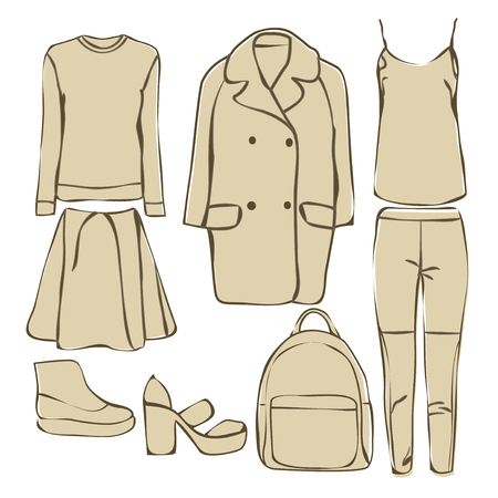 casual: Set of women autumn clothes. Casual collection.