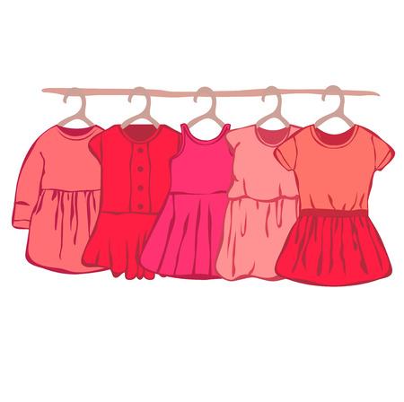 baby wardrobe: Baby dress of the hanger. wardrobe for small girl.
