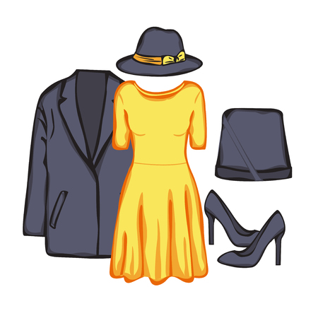pompous: Collection of woman clothes. Evening looks with dress. Illustration