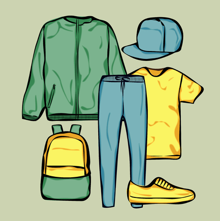 looks: Casual clothes for man. Hand drawn clothes. Autumn looks. Illustration