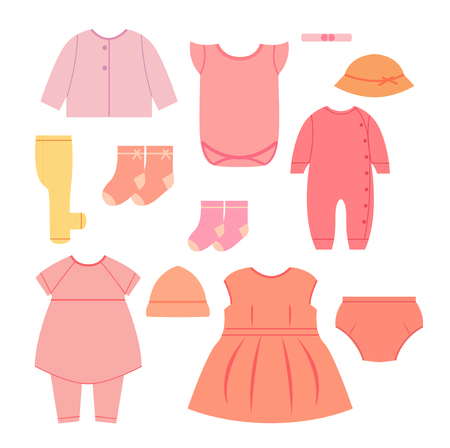 baby wardrobe: Baby flat clothes. Wardrobe for small girl.