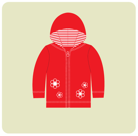 cardigan: Baby flat cardigan. Sport red clothes for girl.