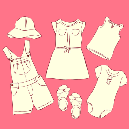 baby girl: Baby clothes sketch. Wardrobe for small girl.