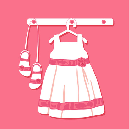 baby wardrobe: Baby looks with dress of the hanger. Wardrobe for small girl. Illustration