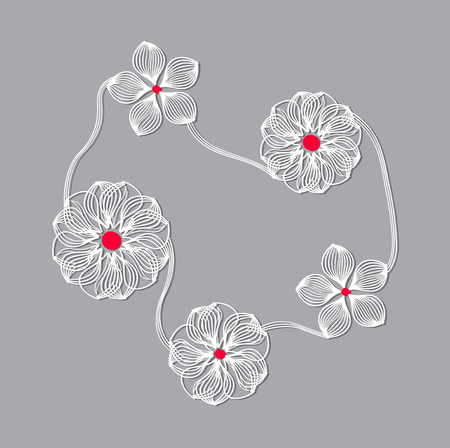 Geometry composition. Symmetry flower of the line. Illustration