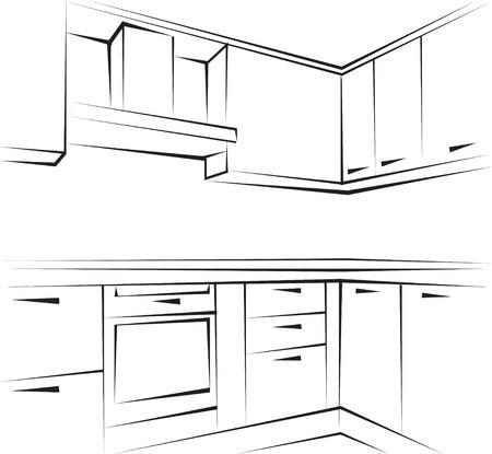 Hand drawn sketch sofa. Furniture icon, banner