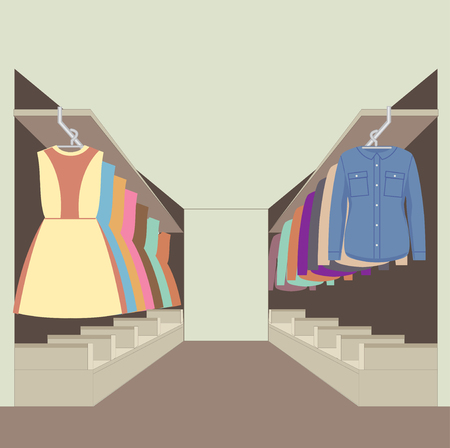 clothing store: Clothes racks with dresses on hangers. Flat style vector illustration.