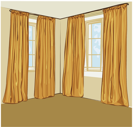window curtains: Golden handdrawn blinds. Vector illustration of room interior.