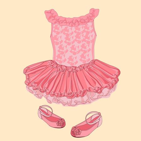 baby girl: Baby dress sketch. Clothes for small girl. Illustration