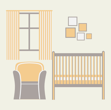 nursery room: Baby room with furniture. Nursery interior. Flat style vector illustration.