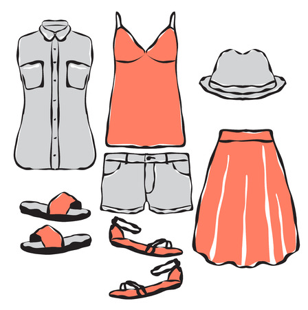 summer clothes: Fashion wardrobe objects set. Casual summer clothes for girl.