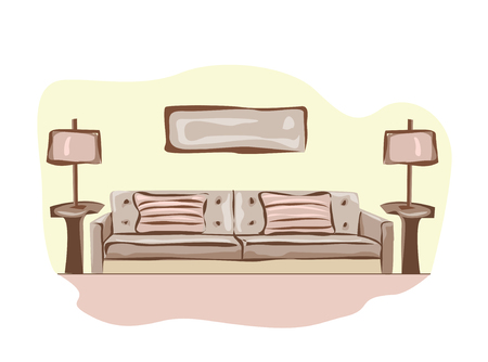 divan: Drawing-room. Editable vector illustration of an outline sketch of a interior.