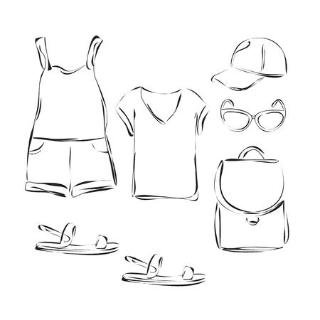 ropa de verano: Objetos de vestuario Moda establecen. Ropa de verano Casual para la muchacha. Vectores