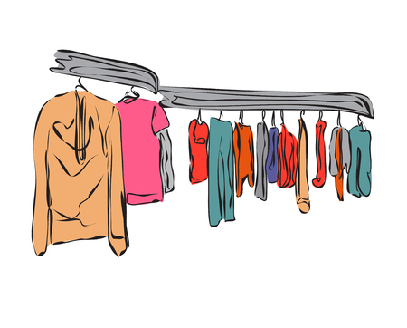 prestige: Clothes boutique. Vector illustration of cartoon wardrobe.