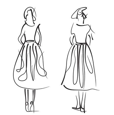 models: Fashion models sketch. Hand drawn vector illustration.