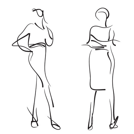 supermodel: Fashion models sketch. Hand drawn vector illustration.