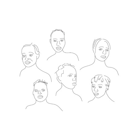 appealing: Hand drawn vector illustration of people fases.