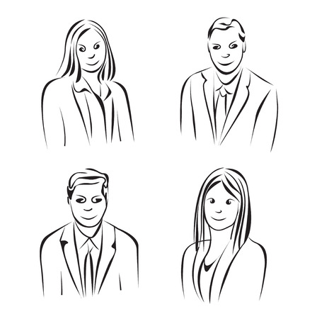 dresscode: Sketch of business people. Hand drawn vector illustration
