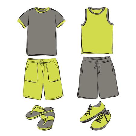 summer clothes: Vector illustration. Set of mens summer clothes.