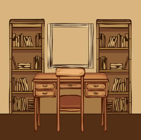 tomes: Cartoon illustration of a workspace. Room interior.