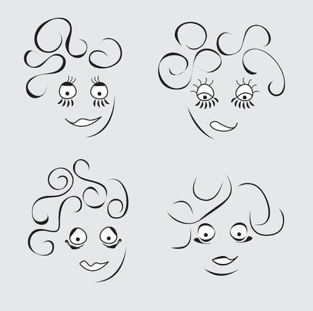 fanny: Cartoon fanny face. Set of handdrawn person.