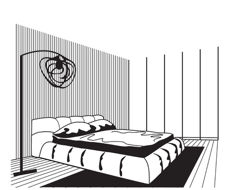 architecture design: Outline sketch of a interior space. Bedroom interior.