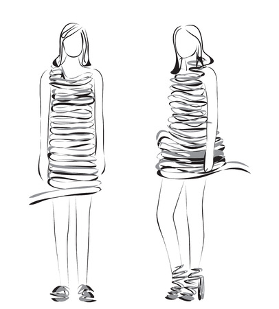 woman pose: Fashion models. Hand drawn sketch of cartoon woman.