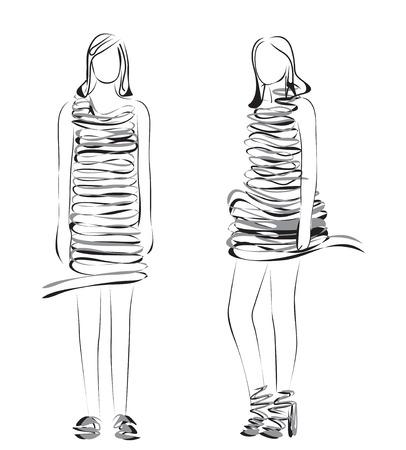 supermodel: Fashion models. Hand drawn sketch of cartoon woman.