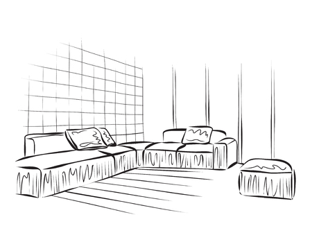modern architecture: Vector illustration of sketch a interior. Graphical drawing interior