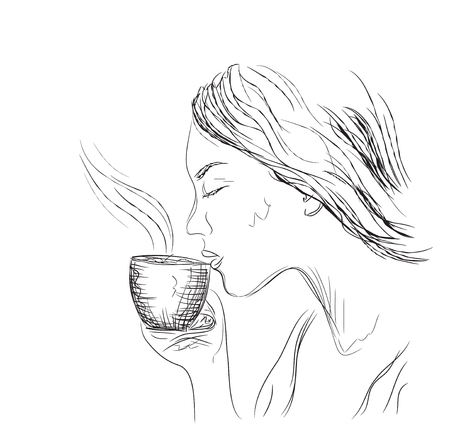 woman drinking coffee: illustration. young woman drinking coffee Illustration