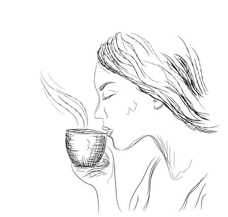 autumn woman: illustration. young woman drinking coffee Illustration
