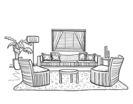 allegoric: room interior sketch.
