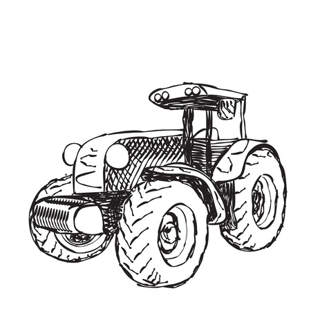 tractor in field: illustration of tractor in sketched style Illustration