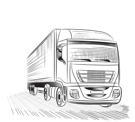 transport truck: Sketch logistics and delivery poster. Illustration
