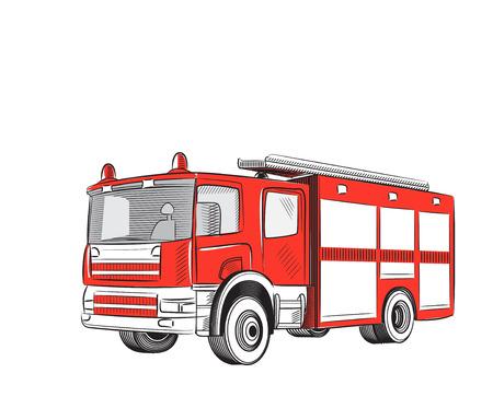 camion de pompier: Bande dessin�e de camion d'incendie stylis�s