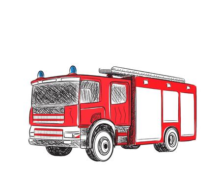 voiture de pompiers: Bande dessinée de camion d'incendie stylisés