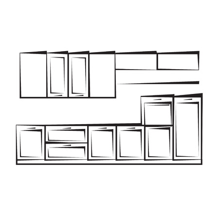 콘도: Facade kitchen vector sketch interior. Illustration of the lines. 일러스트