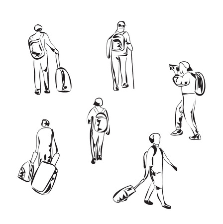 backpacker: Hand drawn tourist with luggage. Travelling backpacker.