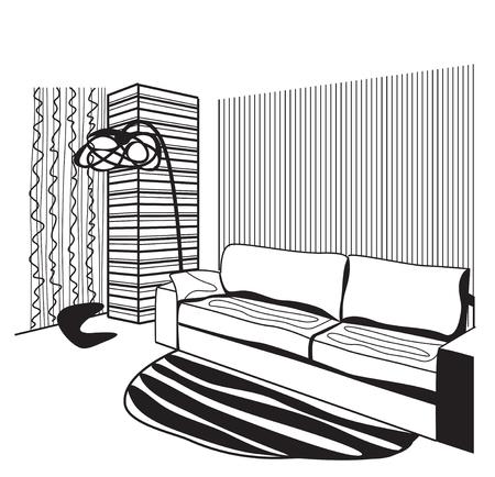 living room design: Vector sketch design. Hand drawn living room interior.