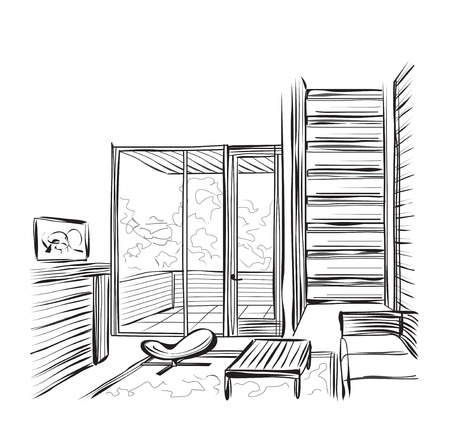 living room design: Vector sketch design. Hand drawn living room interior with stairs.