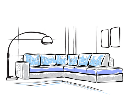 Hand drawn room interior. Furniture sofa sketch.