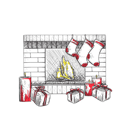 fireplace christmas: Illustration of fireplace with socks and Christmas gifts.