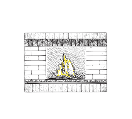 cozy: Hand drawn fireplace. A cozy place at home.