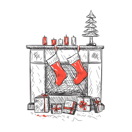 Illustration of fireplace with socks and Christmas gifts.