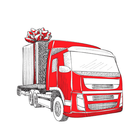 Truck van Christmas gift box bow ribbon. Delivery service van New Year greeting card. Illustration
