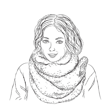 curly: Vector  girl with black curly hair in scarf. Illustration