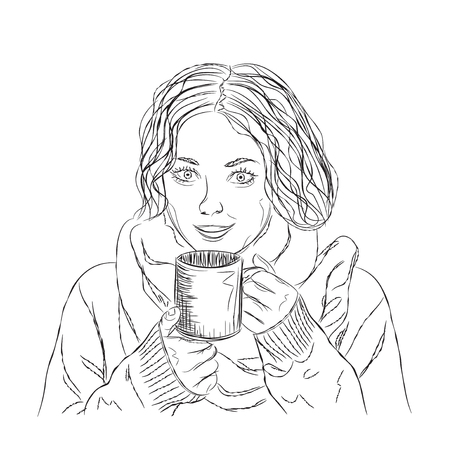 curly: Vector  girl with black curly hair and coffee.